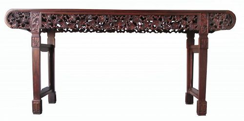 Chinese Antique Ruyi Carved Hardwood Tall Table