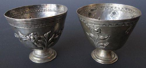 Pair of Sino-Tibetan Silver Offering Cups