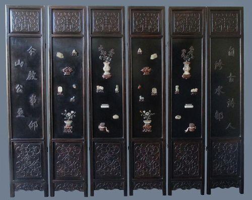 Chinese 6-panel Coromandel Hardwood Screen with Inlaid Jade