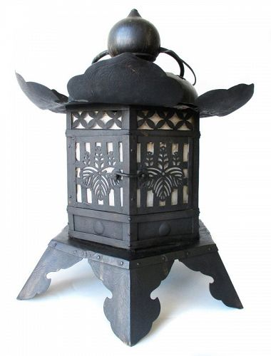 Japanese Antique Large Iron Tsuri-doro,  Hanging Temple Lantern