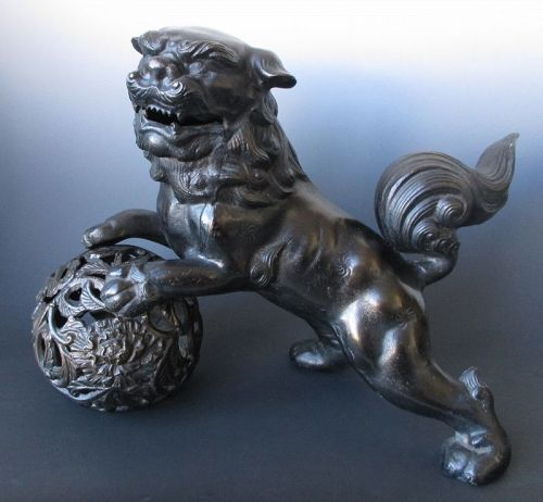 Playful Japanese Bronze Fu-dog on Ball