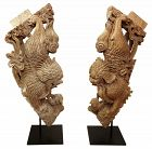 Pair of Monumental Chinese Temple Fu Dog Corbels