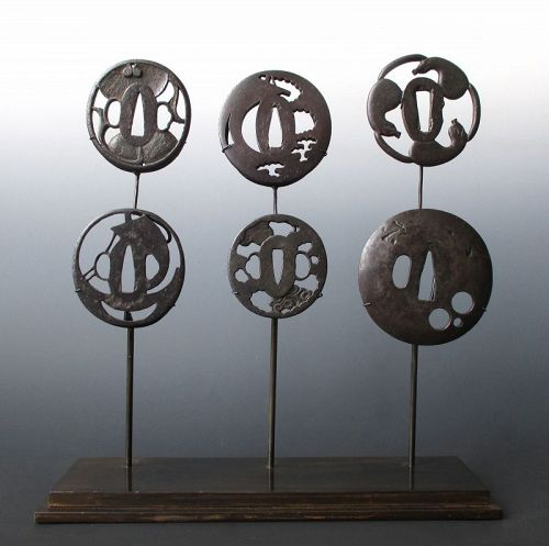 Japanese Group of 6 Edo Period Tsuba on Stand