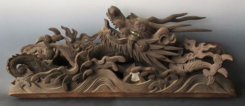 Large Japanese Ryu Dragon Temple Carving with Crystal Ball