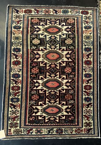 Antique Hand-Woven Caucasian Lesghi Azeri Rug