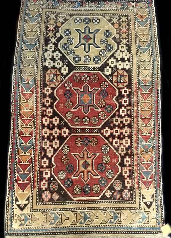 Antique Hand-Woven Caucasian Shirvan Azeri Rug