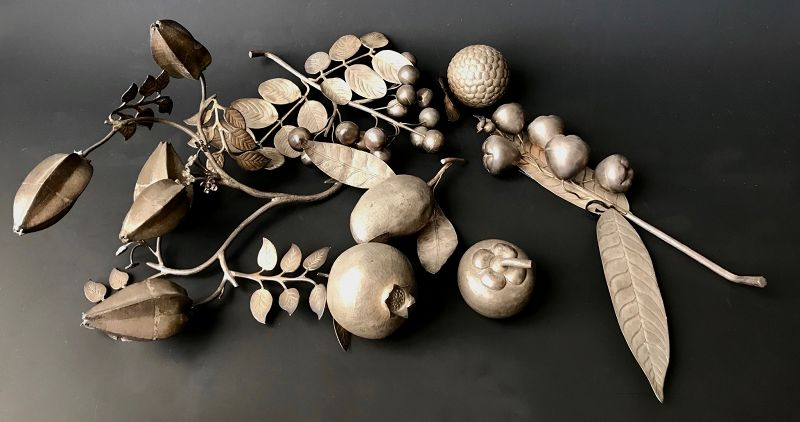 Chinese Collection of Seven Repousse Silver Fruits