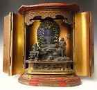 Japanese Red Lacquer Zushi Traveling Buddhist Shrine