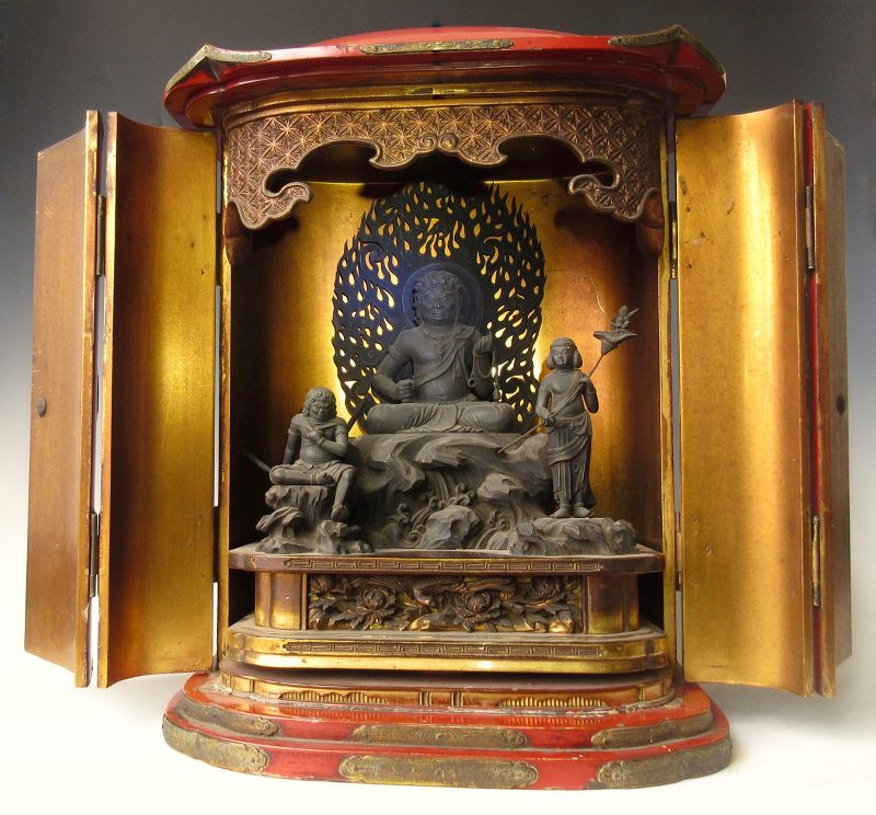 Japanese Red Lacquer Zushi Traveling Buddhist Shrine