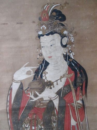 Large Japanese Scroll Painting of the Bodhisattva Quanyin