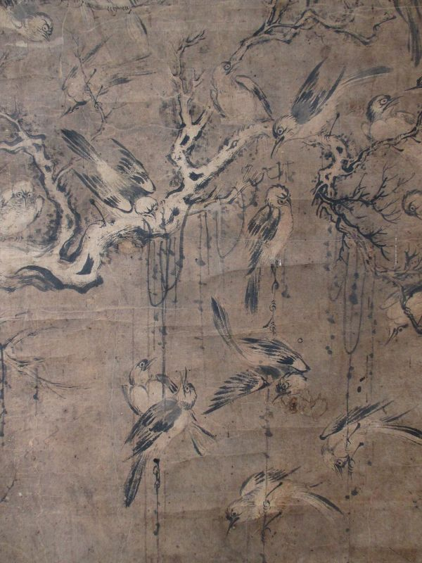 Antique Chinese Scroll Painting of 100 Birds