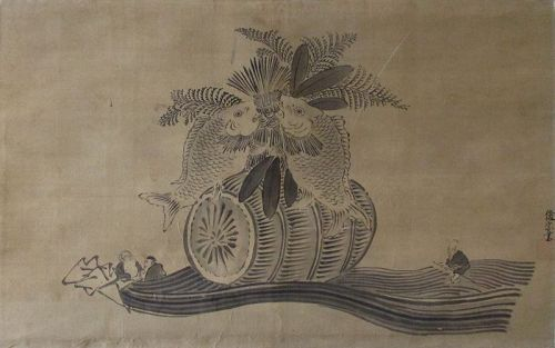 Japanese Scroll Painting,  Bounty of Good Fortune