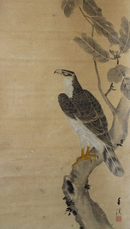Japanese Antique Scroll Painting of a Hawk