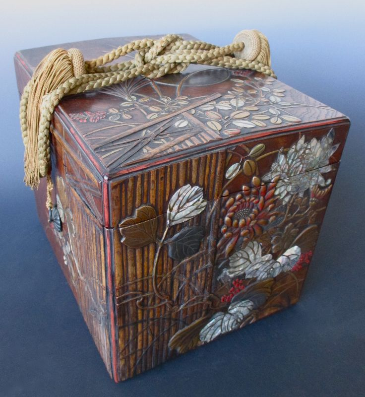 Japanese Antique Lacquered Keyaki Box with Garden Gate and Moon