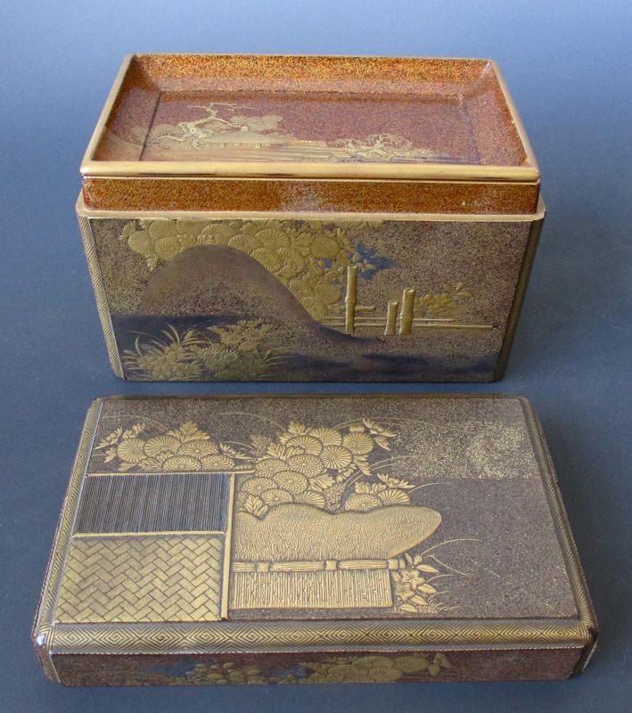 Japanese Antique Gilt Lacquer Kobako with Inside Tray