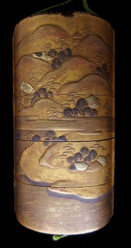 Antique Japanese Gold Landscape Inro
