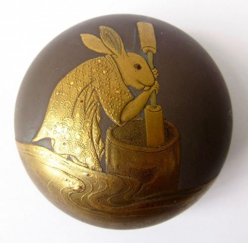 Japanese Lacquer Kogo with Rabbit Pounding Mochi on the Moon