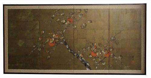 Antique Japanese 4Panel Byobu Screen of Persimmons