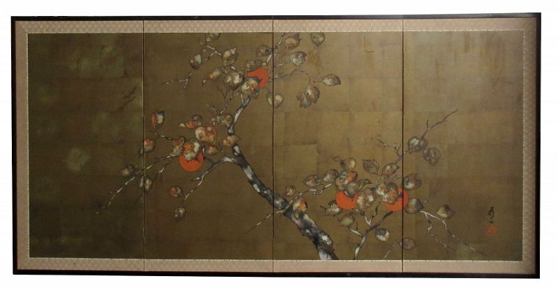 Antique Japanese 4Panel Byobu Screen of Persimmons