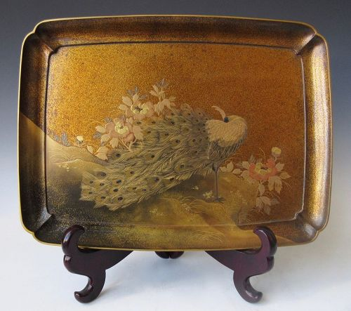 Japanese Maki-e Inlaid Lacquer Tray with Peacock