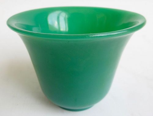 Antique Chinese Monochrome Green Peking Glass Cup