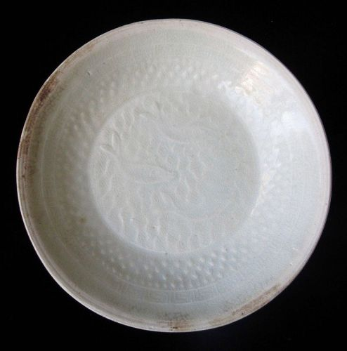 Antique Chinese Qingbai Dish with Motif of Fish