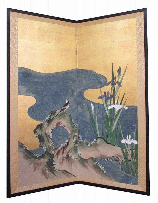 Japanese Antique 2-panel Screen Painting of Bird and Irises