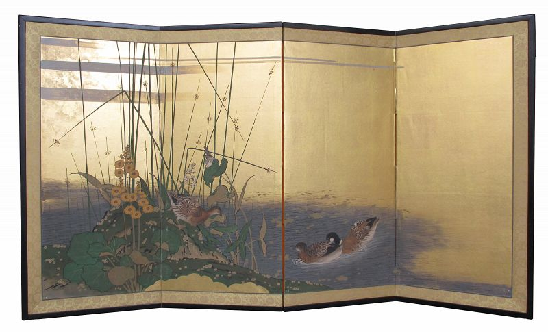 Japanese 4-panel Screen Painting with Ducks and Grasses