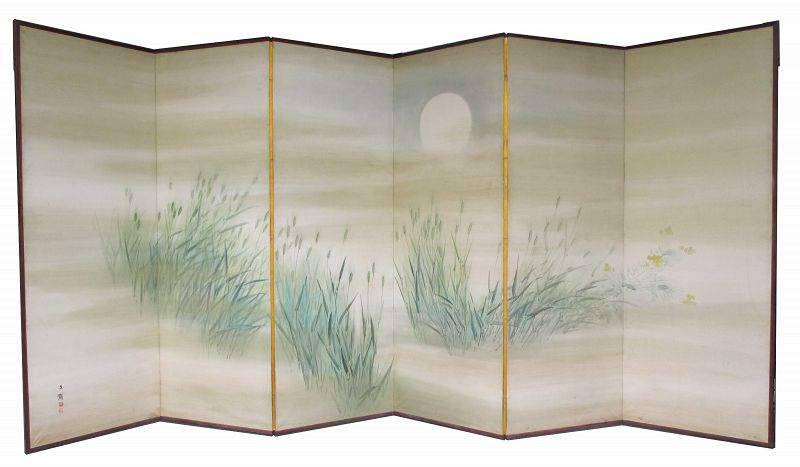Japanese 6-panel Screen Painting of Moonlit Grasses
