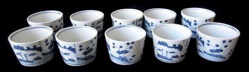 Japanese Edo Set of 10 Sobachoko Blue and White Cups