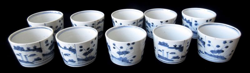 Japanese Edo Set of 10 Sobachoko Blue and White Cups