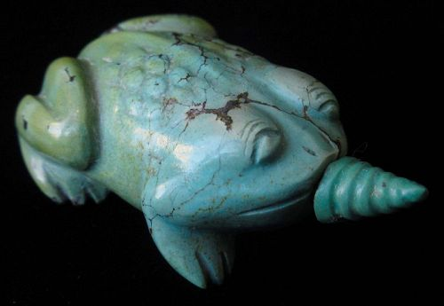 Antique Chinese Turquiose Snuff Bottle of a Toad