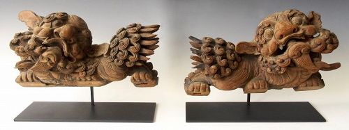 Antique Chinese Pair of Carved Fu Dogs on Stands
