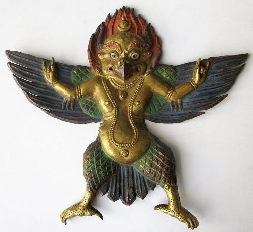 Tibetan Gilt Copper Repousse Figure of Garuda
