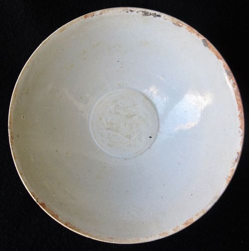 Antique Chinese Qingbai Bowl with Fish