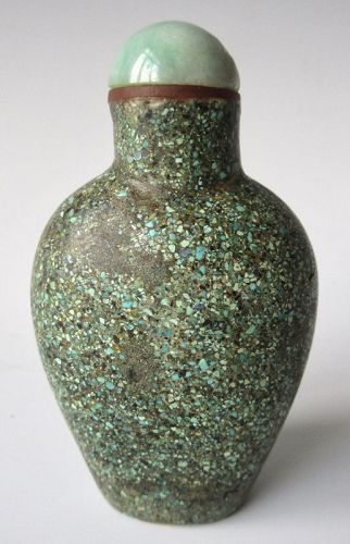 Antique Chinese Turquoise Encrusted Snuff Bottle