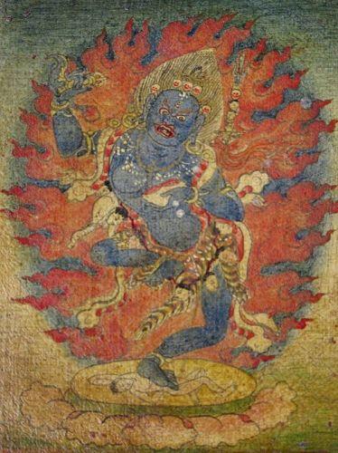 18th C. Tibetan Buddhist Tsakli Miniature Painting of Mahakala