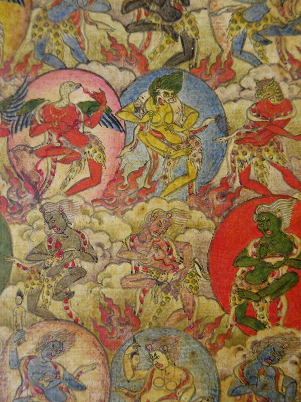 18th C. Tibetan Buddhist Tsakli Miniature Painting of Dakinis