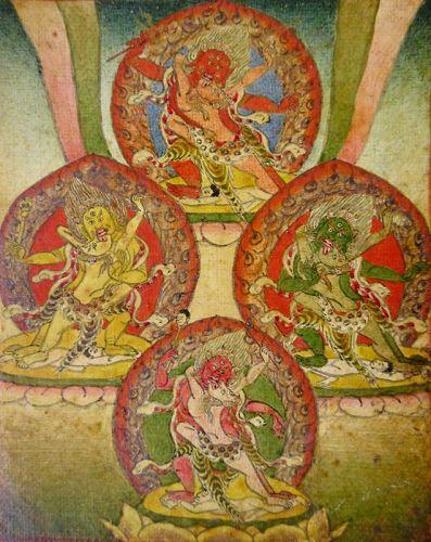18th C. Tibetan Buddhist Tsakli Miniature Painting of Dharmapalas