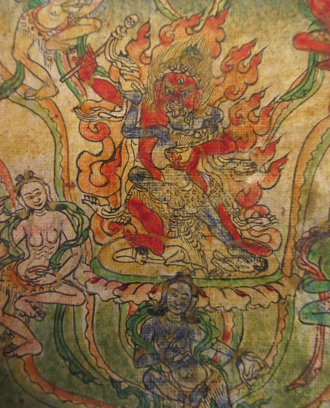 18th C. Tibetan Buddhist Tsakli Miniature Painting of Red Mahakala