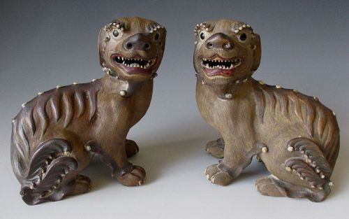 Pair of Chinese Antique Shiwan wear Fu-dogs