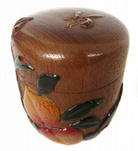 Antique Japanese Natsume Tea Caddy with Insect Motif, Signed