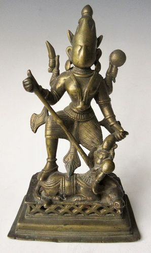 Antique Indian Bronze Figure of Durga
