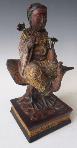 Antique Tibetan Gilt Carving of Saraswati on Swan