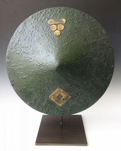 Japanese Edo Green Lacquer Mori Clan Jingasa