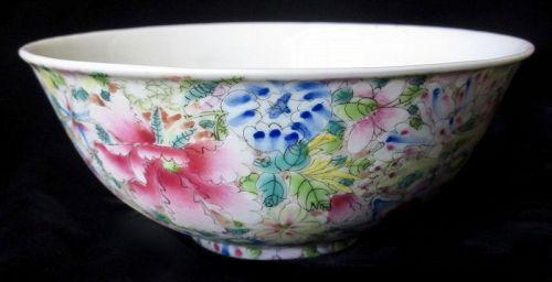 Antique Chinese Mille Fleur Porcelain Bowl