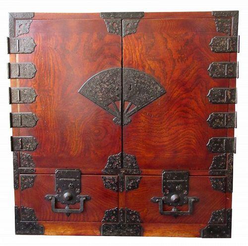Rare Antique Japanese Solid Keyaki Burl Fan Lock Tansu