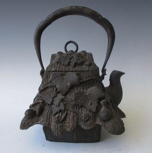 Japanese Iron House Teapot with Gourds Tetsubin