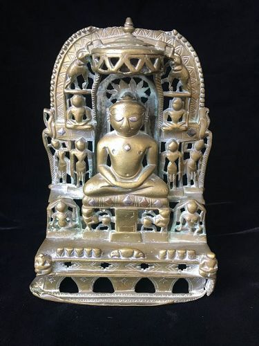 17th Century Silver Inlaid Brass Jain Shrine