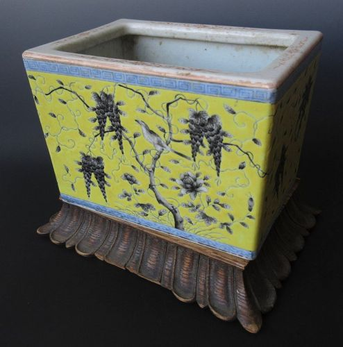 Antique Chinese Squared Porcelain Planter w/ Base